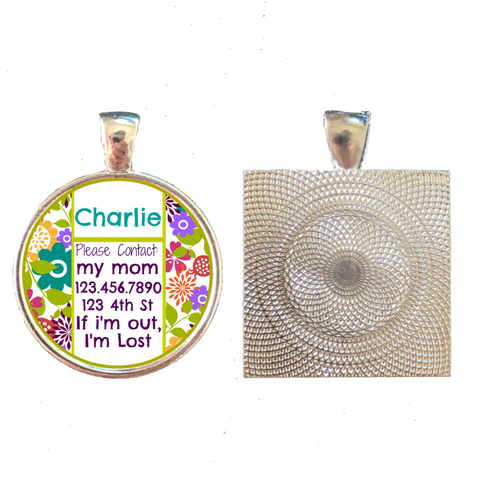 Cute Floral Custom Pet ID Tag