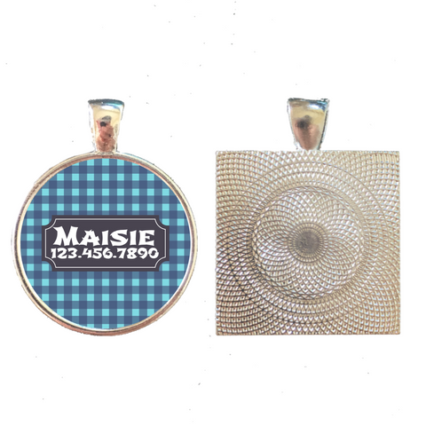 Gingham Plaid Pet ID Tag- More Colors