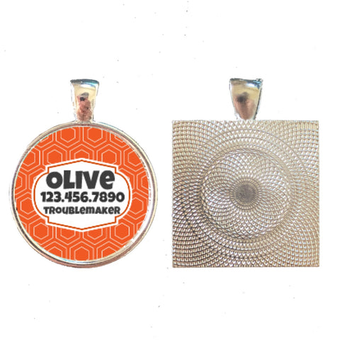 Orange Geometric Pet ID Tag