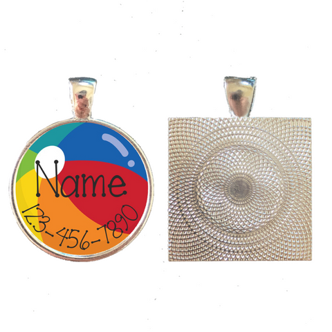Beach Ball Summer Personalized Dog ID Pet Tag Custom Pet Tag You Choose Tag Size