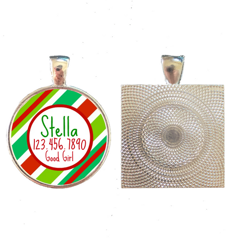 Holiday Stripes Pet ID Tag