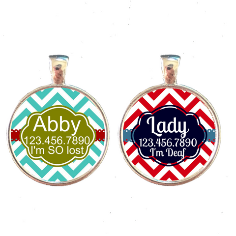 Chevron Stripes Pet ID Tag- 10 Colors