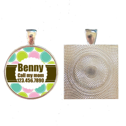 Floral Dots Pet ID Tag