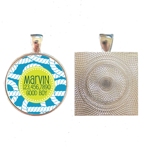 Blue Nautical Rope Pet ID Tag