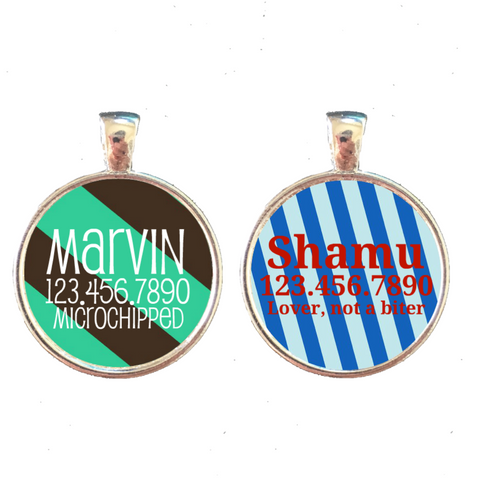 Bold Stripes Pet ID Tag- 9 Colors