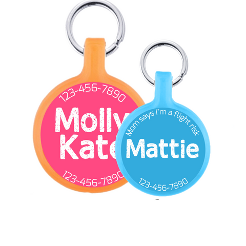 Bold Text Personalized Dog ID Pet Tag- You Choose Size & Colors