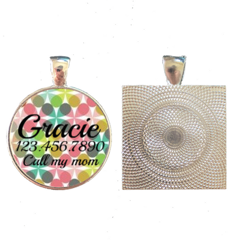 Modern Abstract Floral Custom Graphic Pet ID Tag