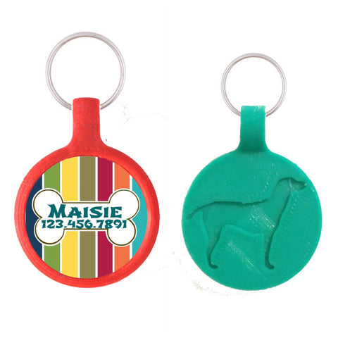 Nautical Stripes with Bone Ecoplastic Pet ID Tag- Choose from many colors.