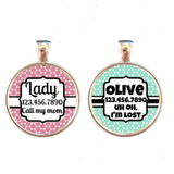 Pretty Moroccan Pet ID Tag- Pink or Blue-Sofa City Sweethearts-Sofa City Sweethearts