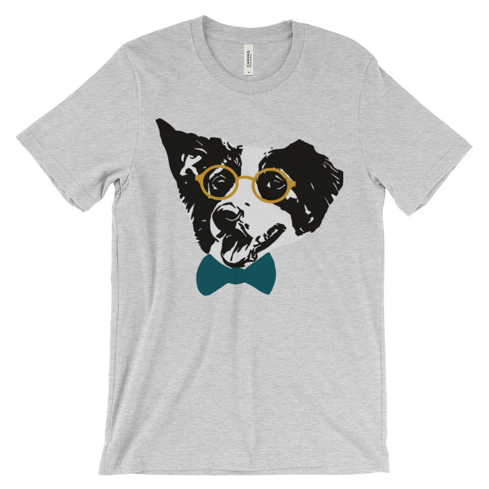 Hipster Border Collie Unisex short sleeve t-shirt - Sofa City Sweethearts  - 2