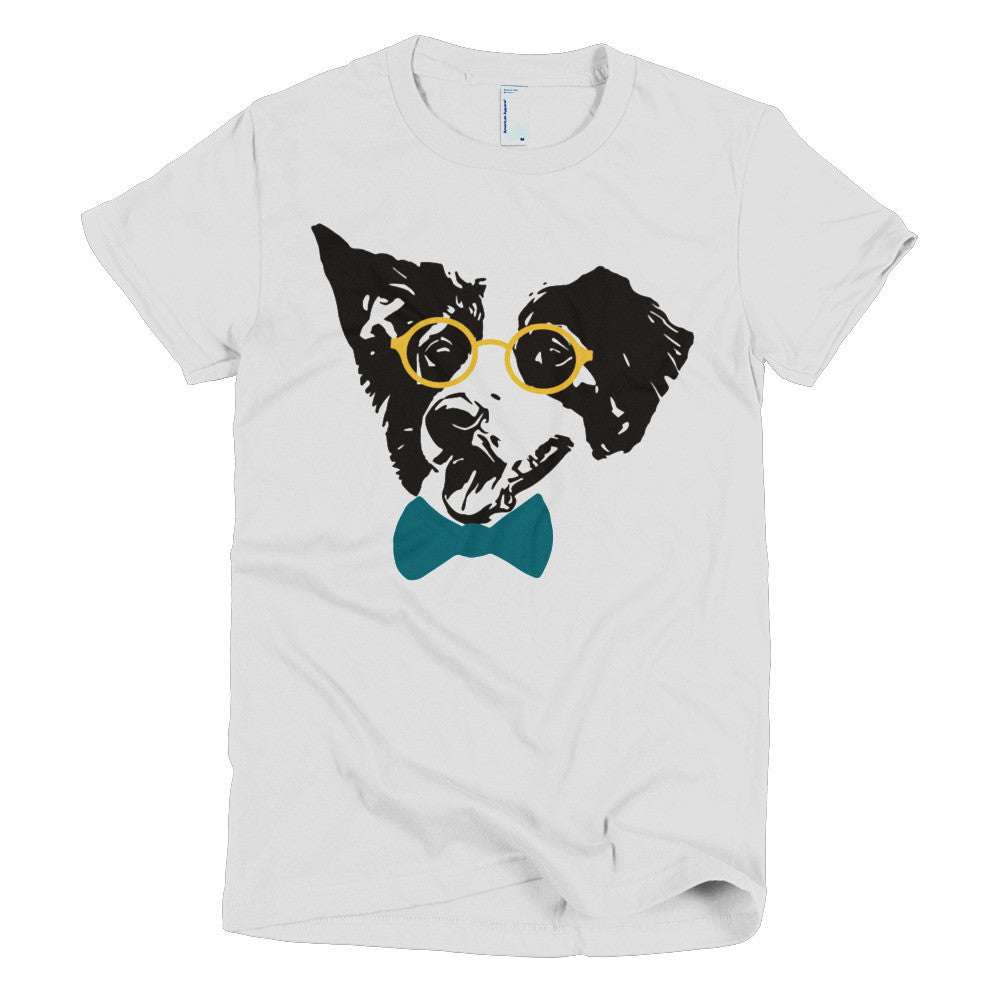 Hipster Border Collie Short sleeve women's t-shirt-Sofa City Sweethearts-Sofa City Sweethearts