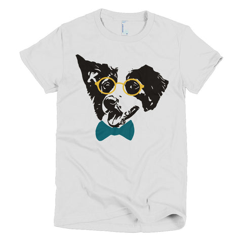 Hipster Border Collie Short sleeve women's t-shirt