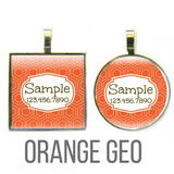 Orange Geometric Pet ID Tag-Sofa City Sweethearts-Sofa City Sweethearts