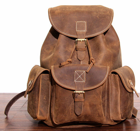 Leather Laptop Brown Backpack