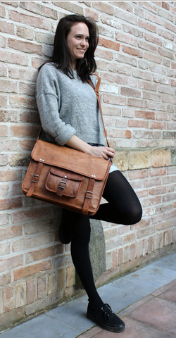 Plain Brown Leather Briefcase
