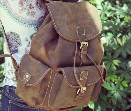Antique Leather Backpack Women
