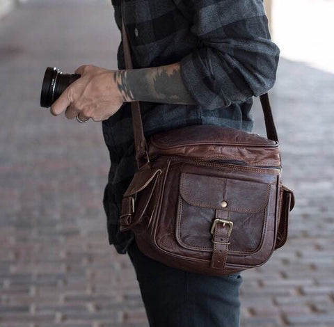 Crossbody Leather Camera Bag