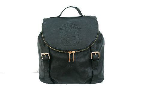 Black Leather College Backpack