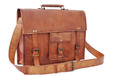 Cartable College en cuir marron