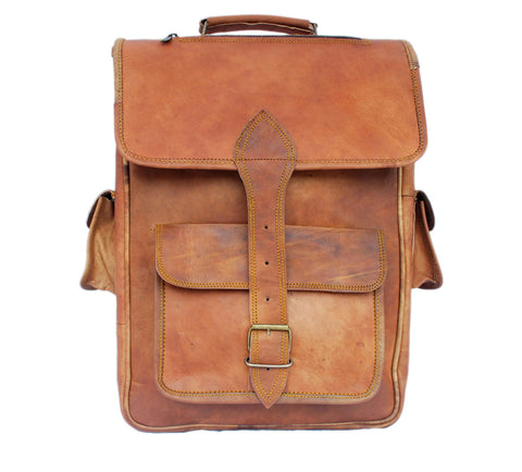 Leather College Backpack