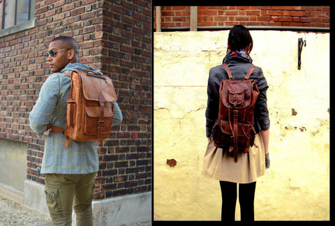 Leather College Backpacks