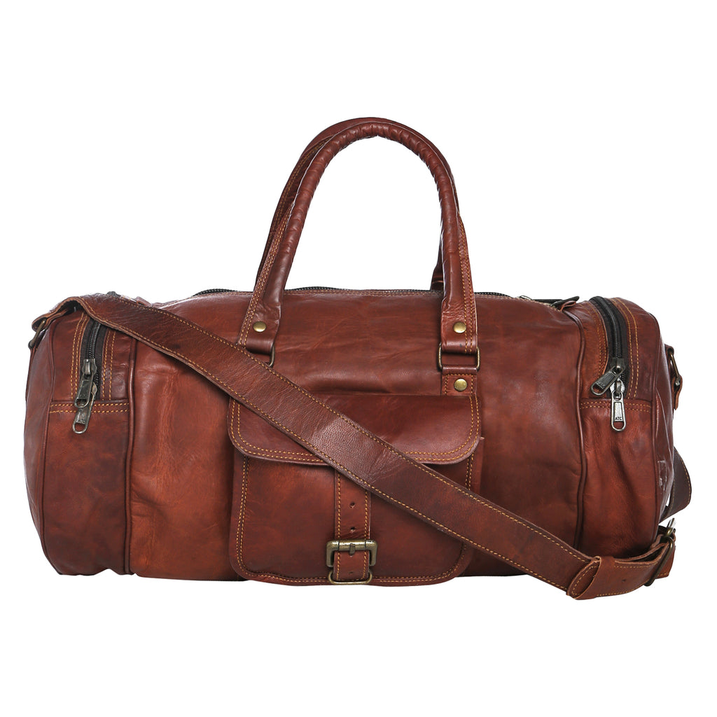 LEATHER GYM DUFFEL BAG