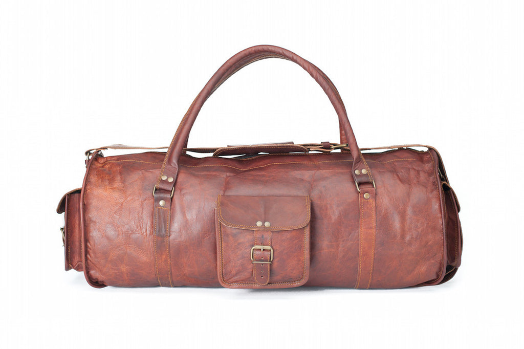 LEATHER HOLDALL BAG 24""