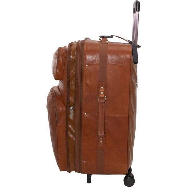 Brown Leather Rolling Suitcase High On Leather