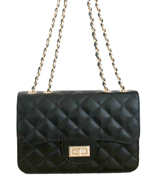 Black Quilted Leather Bag High On Leather