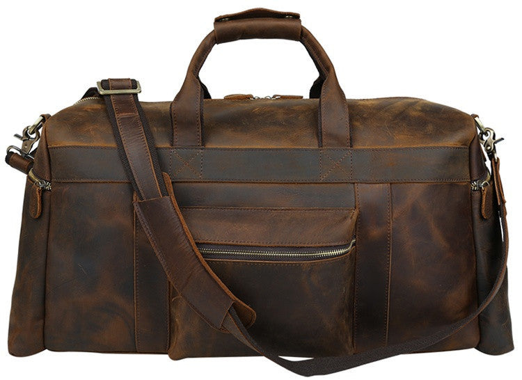 BROWN LEATHER TRAVEL DUFFEL