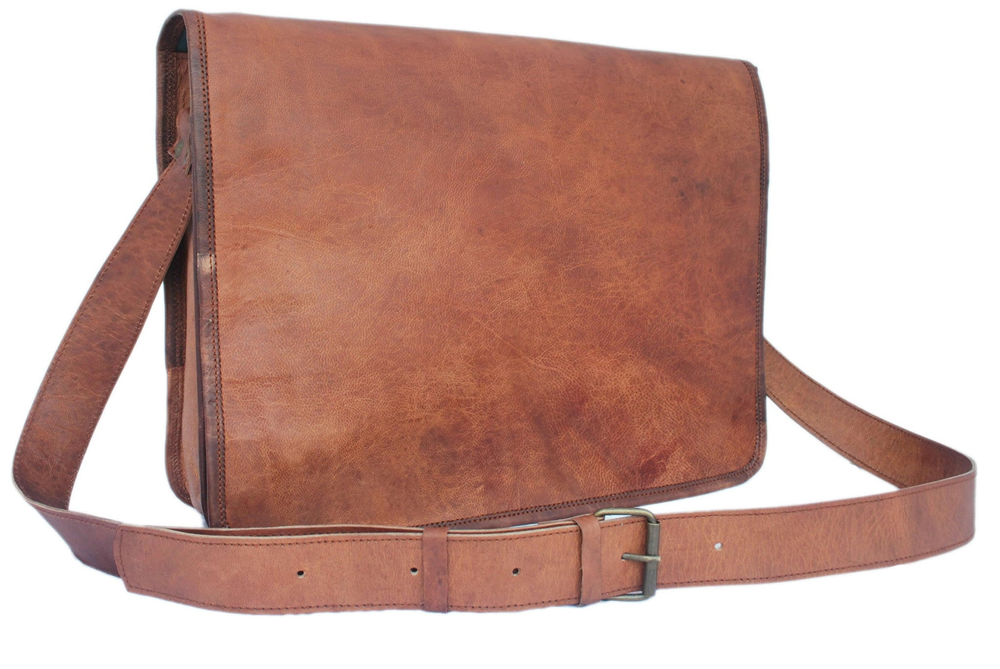 "13/"" Men/'s Vintage Brown Leather Full Flap Messenger Laptop Satchel Shoulder Bag"
