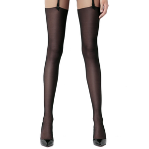 Amoralle Black mesh stockings with back seam