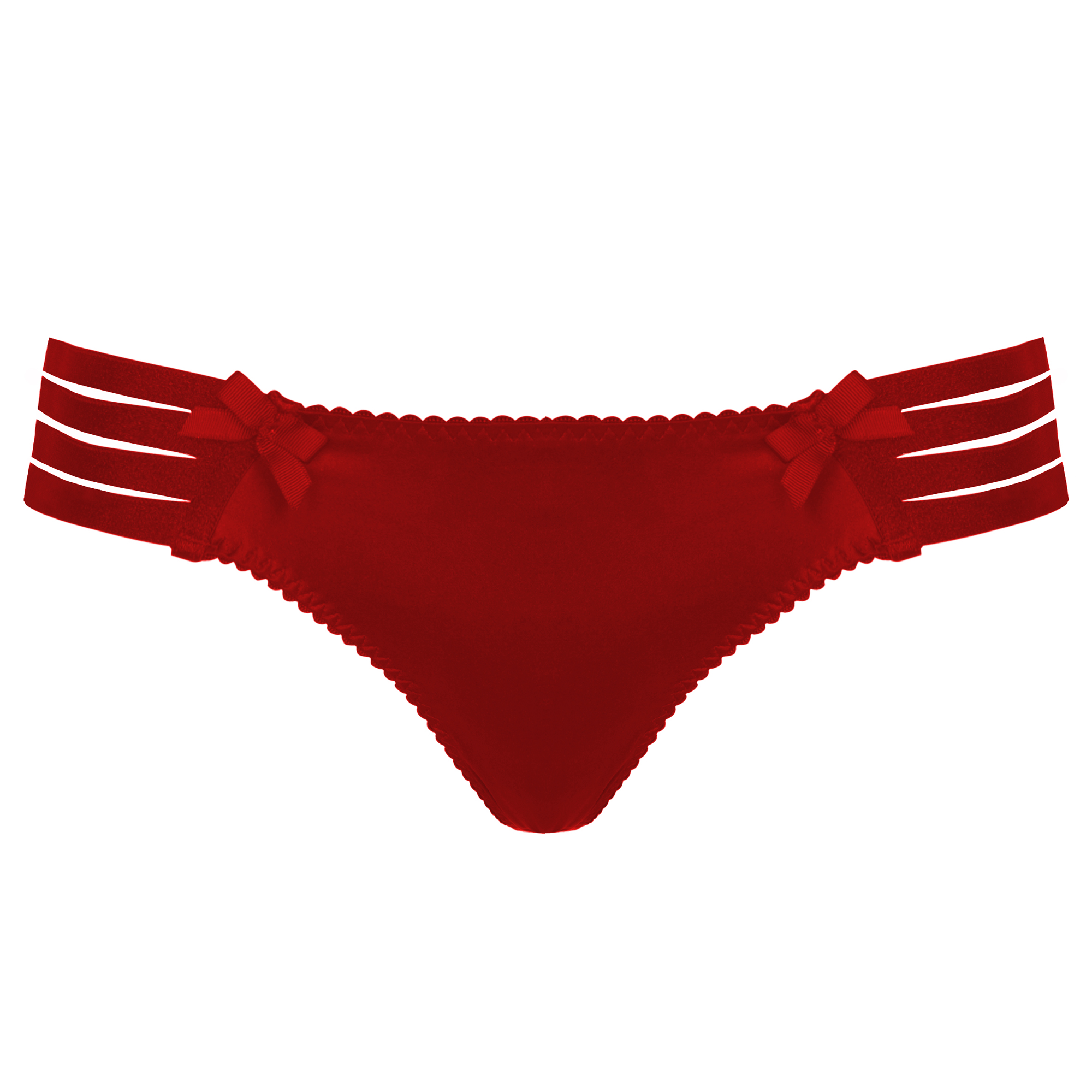 Bordelle Adjustable silk webbed thong in red