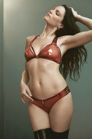 Bordelle 10 Year peep brief and 10 Year soft cup bra in burnt red