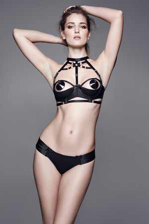 Bordelle Bondage shelf bra, adjustable webbed thong and leather nipplets