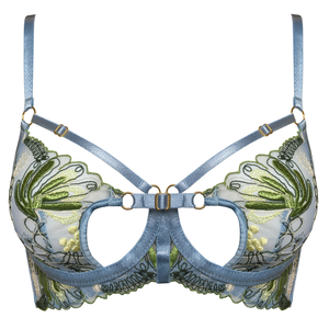 Bordelle Botanica bodice bra in dusty blue lace