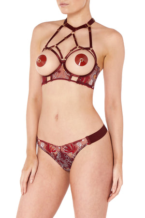 Bordelle Botanica thong and Botanica ouvert wire bra - morello burgundy
