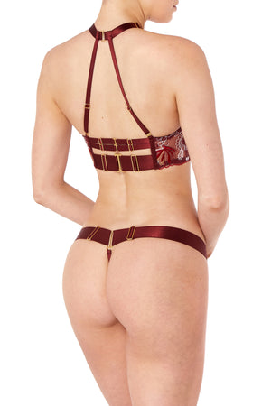 Bordelle Botanica thong and Botanica ouvert wire bra - morello burgundy back