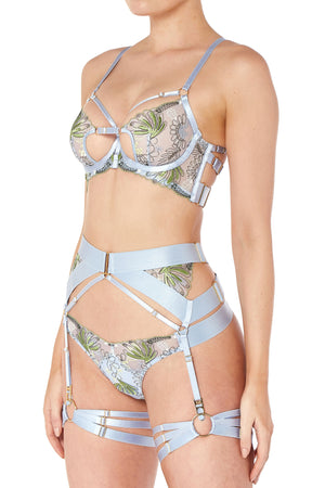 Bordelle Botanica bodice bra, suspender & thong in dusty blue - side