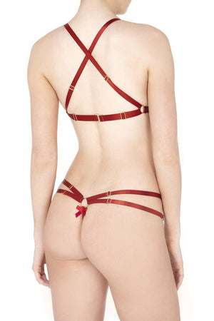 Bordelle harness thong and Cabaret bra in red - back