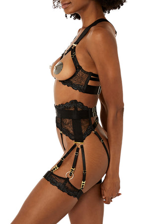 Kea garters with Kea ouvert wire bra ouvert suspender brief and thong by Bordelle black