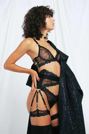 Kea garters with Kea plunge bra ouvert suspender brief and thong by Bordelle black gold chrome