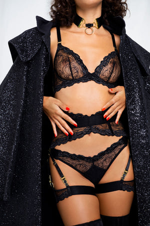 Kea garters with Kea plunge bra ouvert suspender brief and thong by Bordelle black shimmer lace