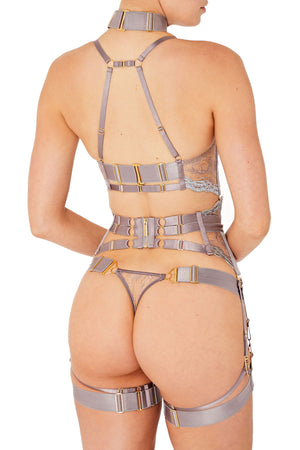 Kea soft cup bra with kea suspender and kea thong by Bordelle tundra violet