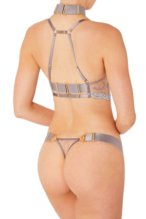 Kea thong with kea soft cup bra and Rey collar by Bordelle tundra violet