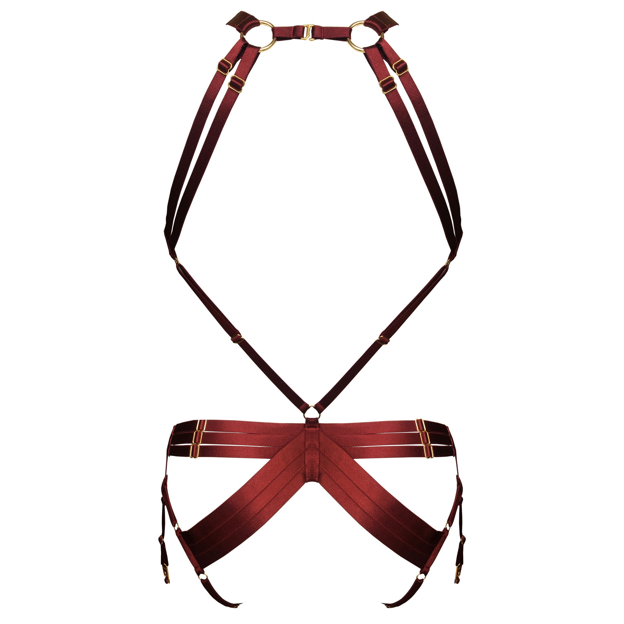 Bordelle Kew Bondage Harness - morello burgundy red