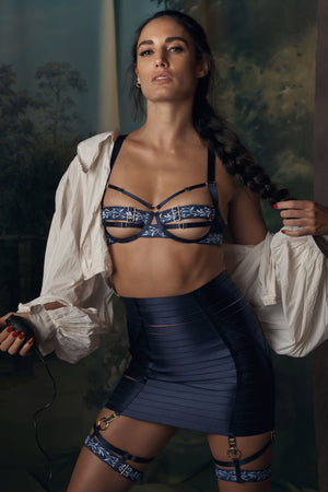 Bordelle Kew Panelled Bodice Bra adjustable waspie and kew garters - navy blue