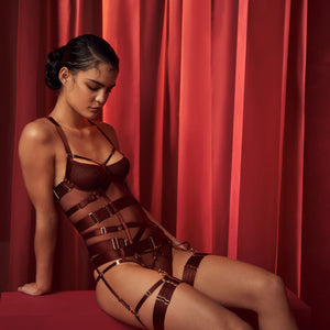Bordelle Merida Basque with brief and multi strap garters - morello burgundy - side