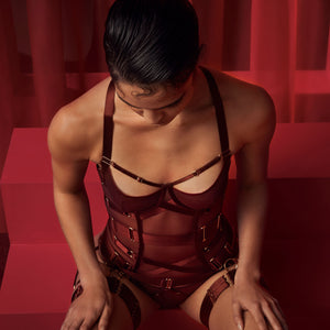 Bordelle Merida Basque with brief and multi strap garters - morello burgundy