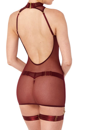 Bordelle Merida Mini dress and Merida thong with garters burgundy backless slip